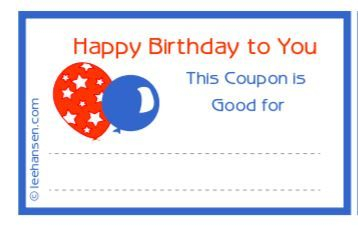 Printable Birthday Coupons With Balloons In 2020