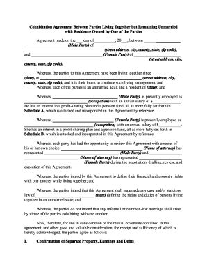 Cohabitation Agreement Form Fill Out And Sign Printable
