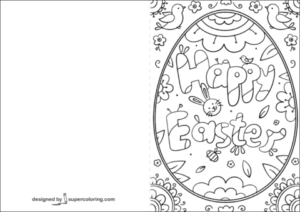 Happy Easter Doodle Card Coloring Page Free Printable