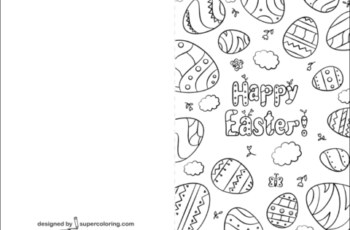 Happy Easter Card Coloring Page Free Printable Coloring