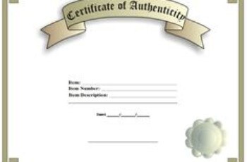 Blank Certificate Of Authenticity For Artists Collectors