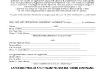 Free New Mexico Lease With Option To Buy Agreement PDF