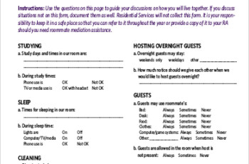 Roommate Agreement Template Business Mentor